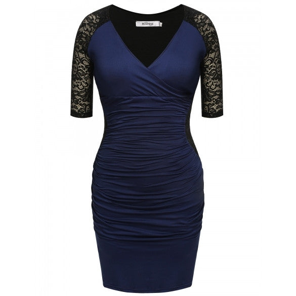 Women Casual Sexy V-Neck Lace Patchwork Retro Party Dress