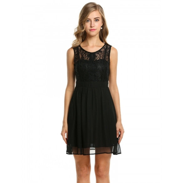 Women's Sheer Lace Sleeveless A-line Cocktail Evening Party Dress