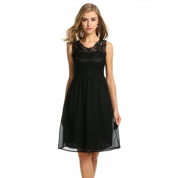 Women V-Neck Sleeveless Slim Lace Chiffon Cocktail Party Dress