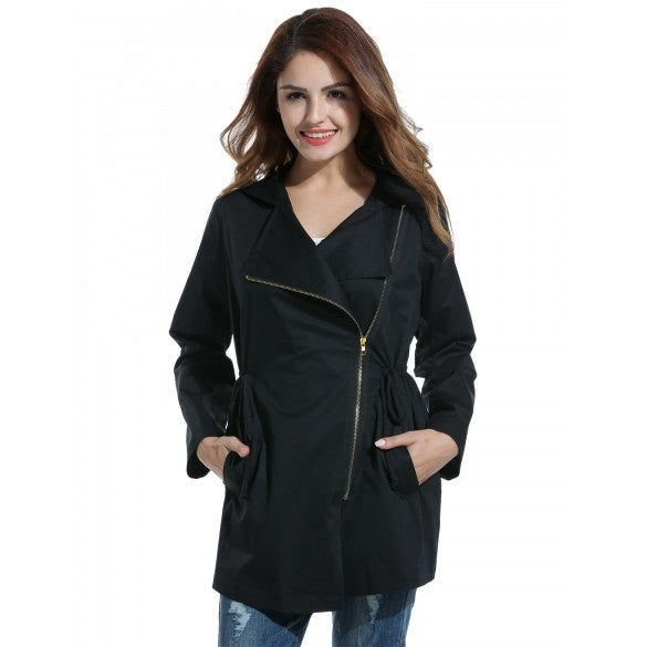 Women Leisure Casual Side Zip Up Drawstring Hooded Military Jacket