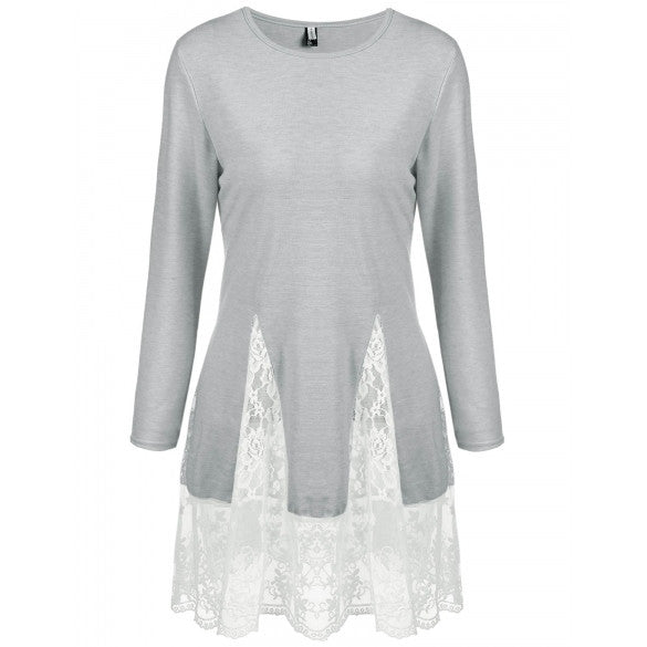 Women's Long Sleeve A-line Lace Patchwork Trim Casual Blouse Tops