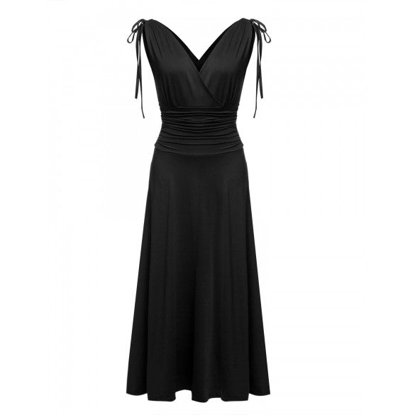 Women Sexy Deep V-Neck Maxi Dress High Waist Slim Evening Party Banquet Dress
