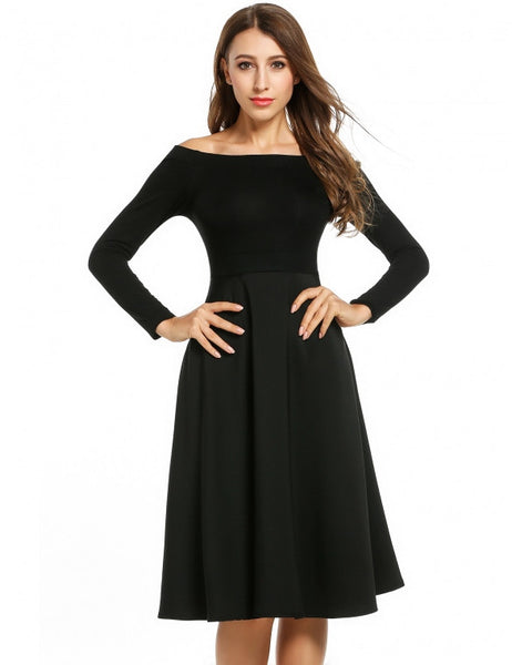 Women's Off Shoulder Long Sleeve Evening Party Pleated Swing Midi Dress