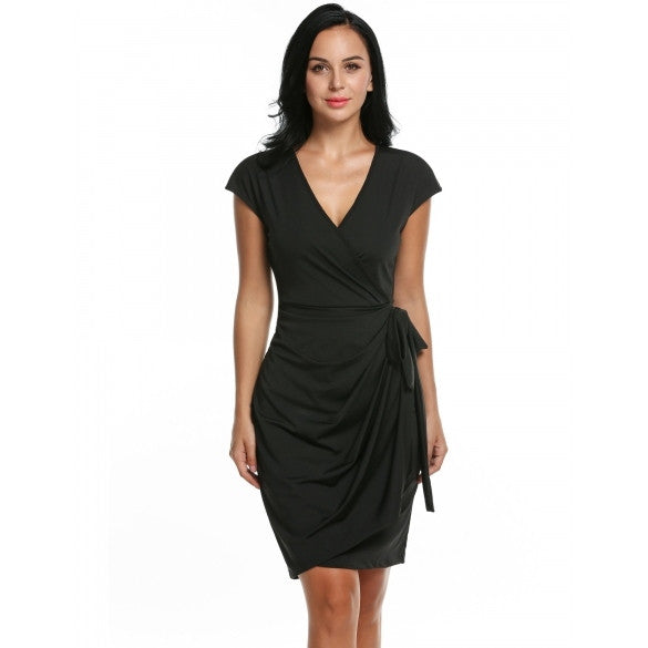 Women's Classic Cap Sleeve V-Neck Draped Tie-Belt Cocktail Wrap Dress