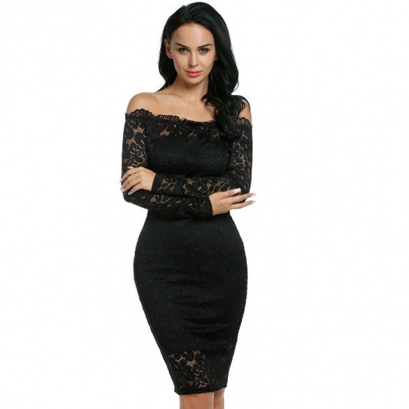 Women Fashion Sexy Strapless Off Shoulder Hollow Floral Lace Evening Party Bodycon Pencil Dress With Inner Tube Dress