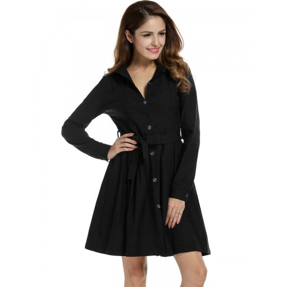 Women Long Sleeve Turn Down Collar Belted Solid Slim Shirt Dress