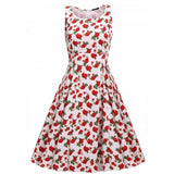 Women Sleeveless Floral Sundress High Waist Pleated Swing Slim Party Knee Dress