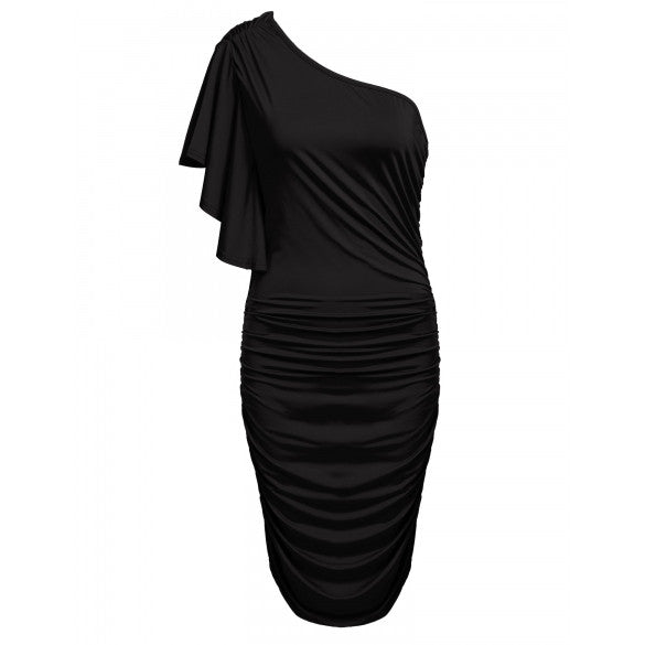 Women Sexy Oblique Collar One Shoulder Solid Pleated Party Cocktail Dress