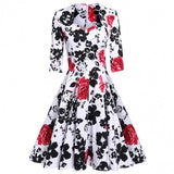 Women 3/4 Sleeve Pleated Dress Floral Large Swing Vintage Style Slim Party Calf Dress
