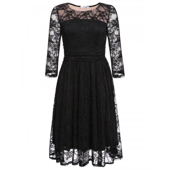 New Women Casual Long Sleeve Sexy O-Neck Lace Party Dress