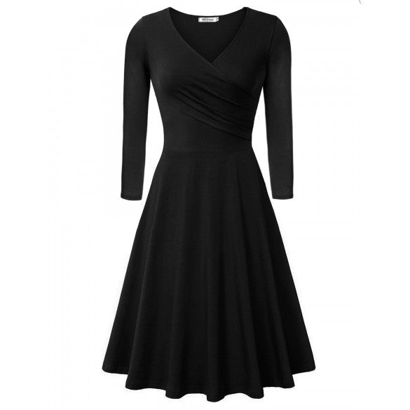Women Fashion Elegant Slim V-Neck 3/4 Sleeve High Waist Solid A-Line Short Dress