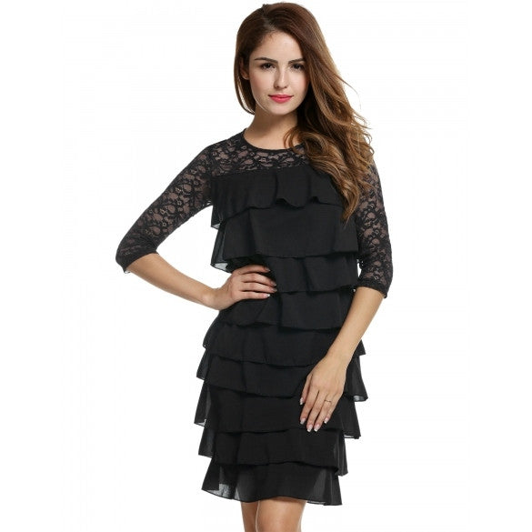 Women Lace Medium Sleeve Bodycon Cocktail Party Multi Tiered Dress