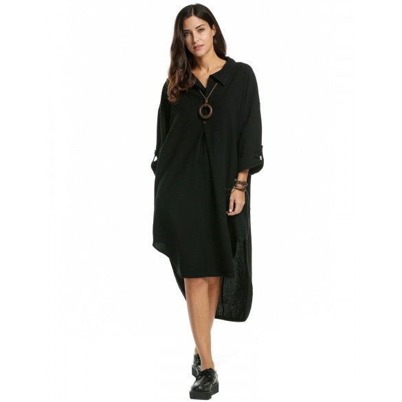 Women's Casual Long Sleeve High Low Hem Plus Size Maxi Dress With Pockets
