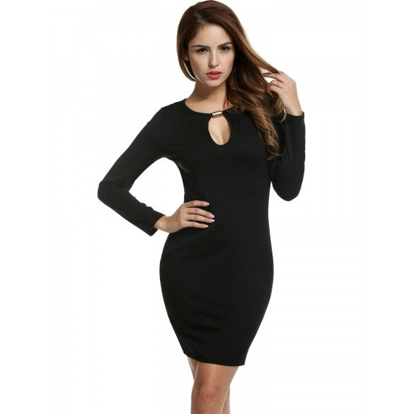 Women Long Sleeve Pencil Dress Hole Key Package Hip Slim Party Knee Dress