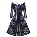 Women 3/4 Sleeve Pleated Dress Dot Large Swing Hem Slim Casual Party Slim Mini Dress