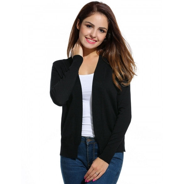 Classic Long Sleeve Solid Open Front Cardigan Sweater Outwear