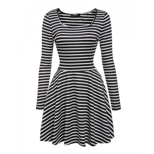 Women's Square Neck Long Sleeve Striped Fit And Flare Pleated Swing Dress