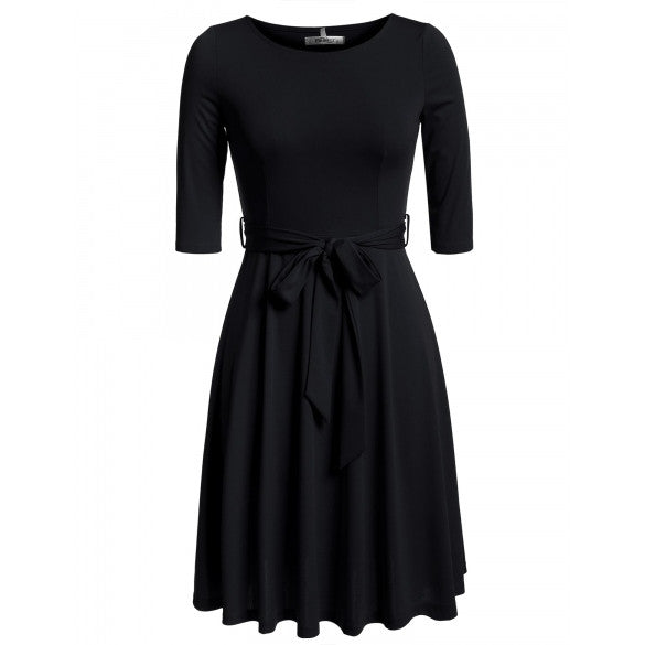 New Women Casual O-Neck Solid Pleated Dress With Belt