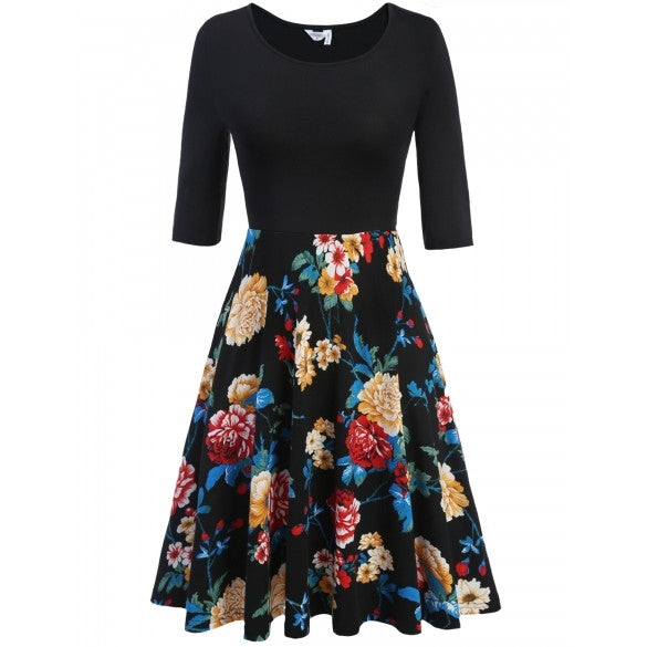 Women Medium Sleeve Pleated Dress Floral Print Large Swing Slim Party Dress