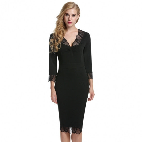 Women 3/4 Sleeve Pencil Dress Formal V-Neck Package Hip Slim OL Business Calf Dress