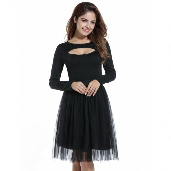 Women Long Sleeve Ball Gown Bubble Dress High Waist Patchwork Slim Party Knee Dress