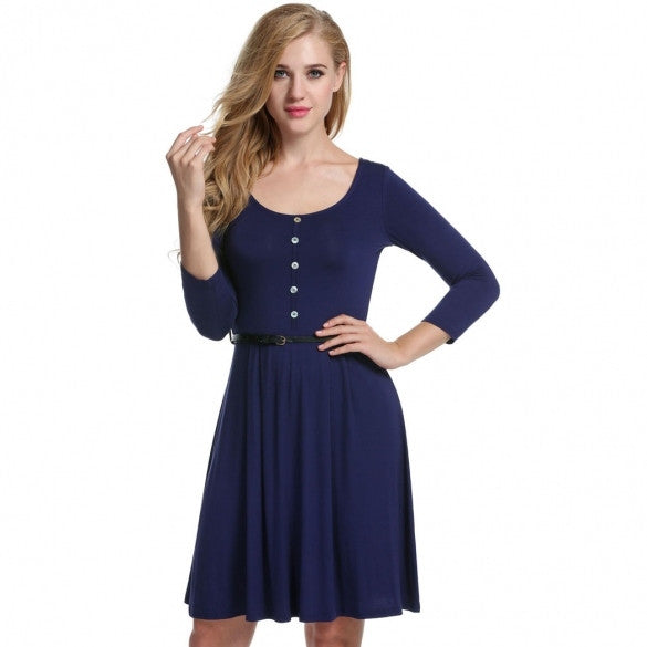 Women Fashion Casual Round Neck 3/4 Sleeve High Waist Solid A-Line Short Dress With Belt