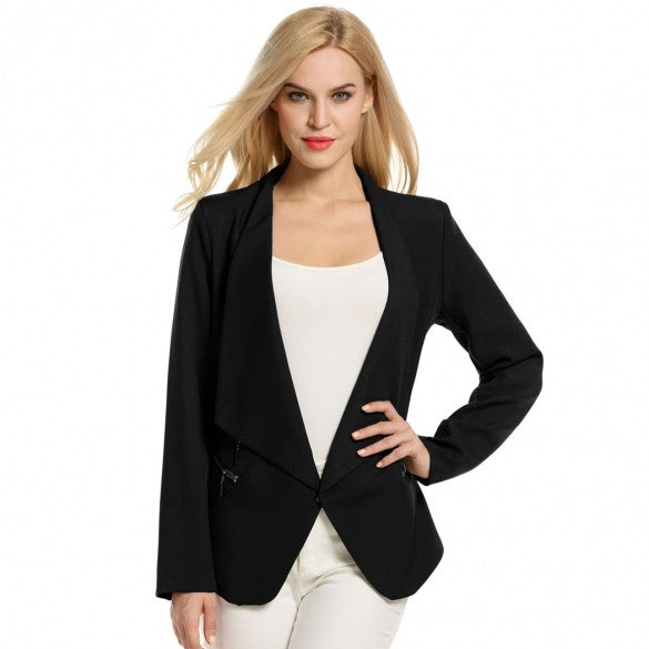 Women Fashion Open Front Draped Asymmetrical Padded Shoulder Long Sleeve Casual Blazer
