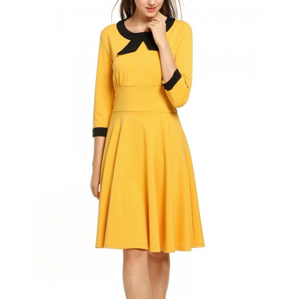New Women Casual O-Neck 3/4 Sleeve Vintage Style Swing Dress