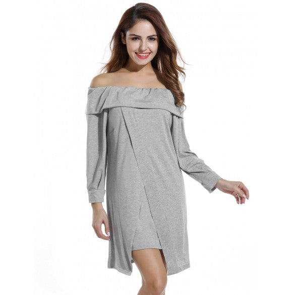 Women Off Shoulder Ruffles Long Sleeve Loose Knee Dress