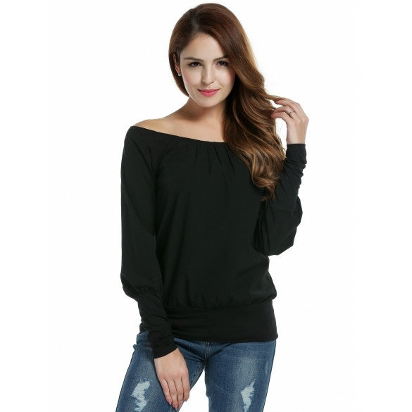 Women Boat Neck Long Sleeve Solid Pleated Front Casual Blouse Tops
