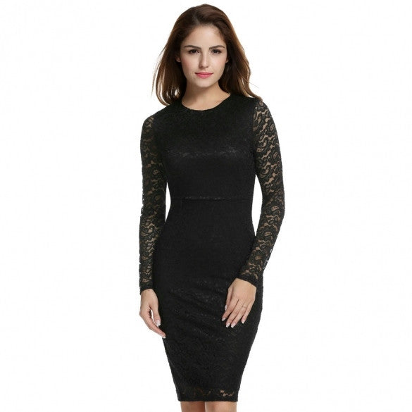 Women Fashion Long Sleeve Hollow Floral Lace Slim Evening Party Bodycon Pencil Short Dress