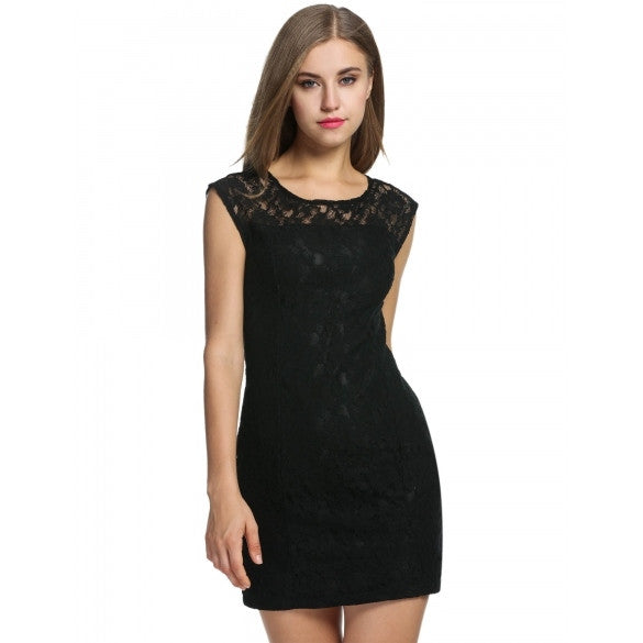 Women's Sleeveless Lace Bodycon Party Cocktail Mini Pencil Dress