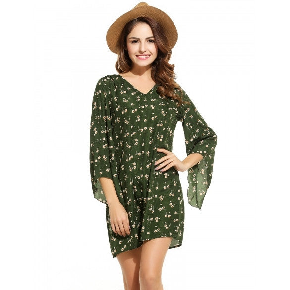 Women Casual Long Sleeve Print V Neck Pullover Shift Dress