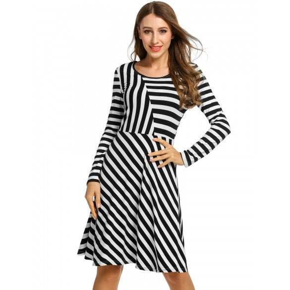 Women Casual Long Sleeve Stripe Patchwork O Neck Pullover Dress