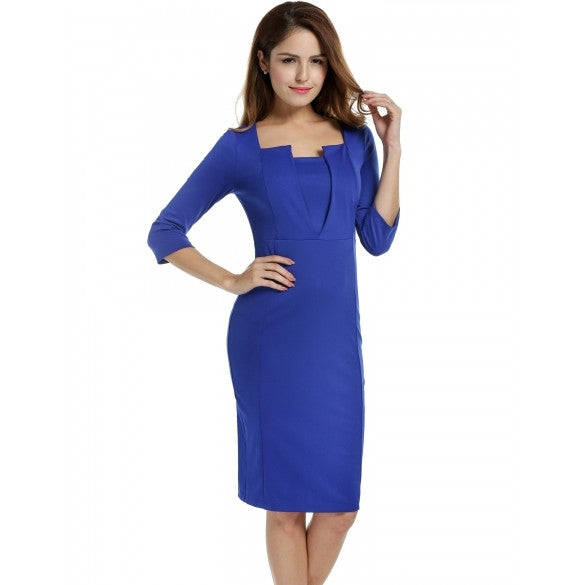 Women 3/4 Sleeve Square Neck Pencil Bodycon Solid OL Party Dress Plus