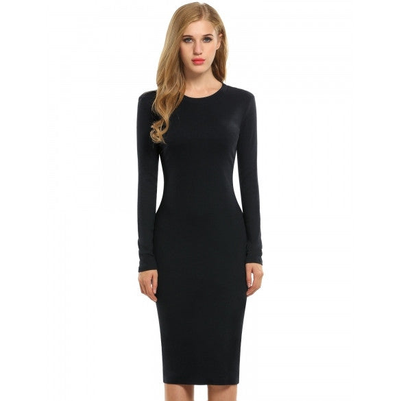 New Fashion Women Solid Long Sleeve Slim Bodycon Pencil Dress