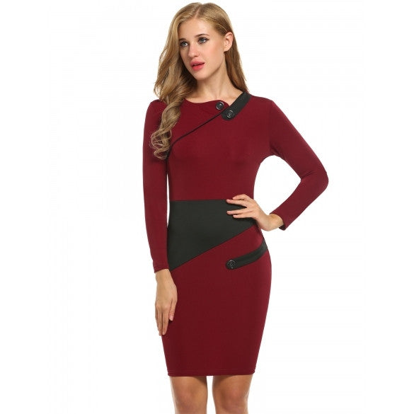 New Women Casual Asymmetrical Neck Long Sleeve High Waist Colorblock Work Pencil Dress