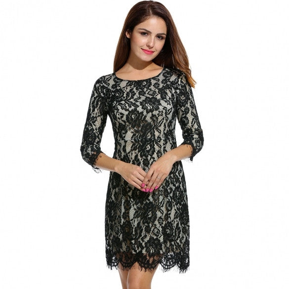 Lace 3/4 Sleeve O Neck Skinny Waist Dress