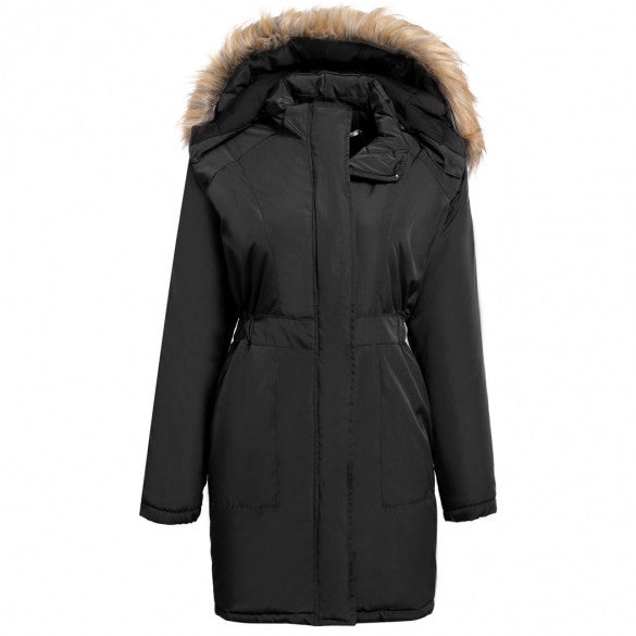 Women Hooded Long Sleeve Solid Zip-up Slim Parka Jacket