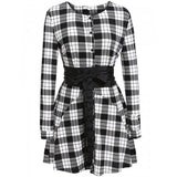 New Fashion Women Casual Long Sleeve Oversized Plaid Dress Autumn Clothes