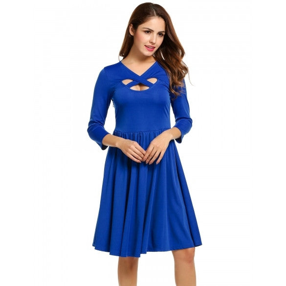 Women Cross V-Neck Cut Out 3/4 Sleeve Fit And Flare Party Pleated Dress