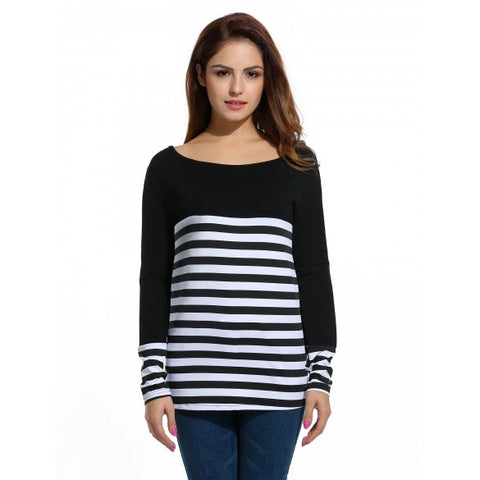 Autumn Loose Long Sleeve O-Neck Patchwork Striped T-shirt