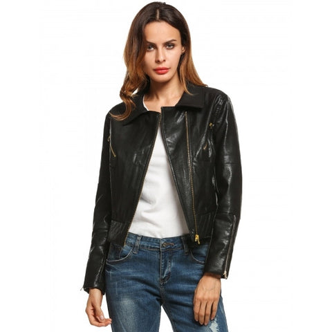 Casual Long Sleeve Turn-down Collar Faux Leather Jackets