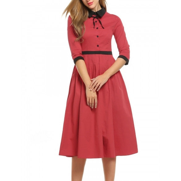 Women Casual Turn Down Collar Vintage Style Bow Patchwork Pleated Dress
