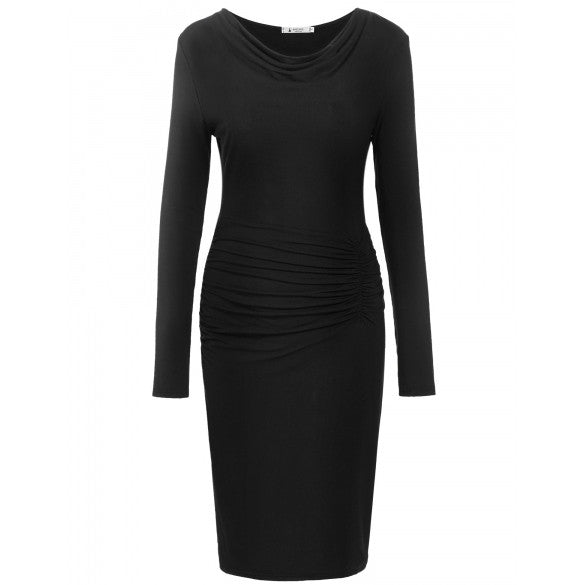 Womens O Neck Long Sleeve Pullover Pleated Solid Slim Dress