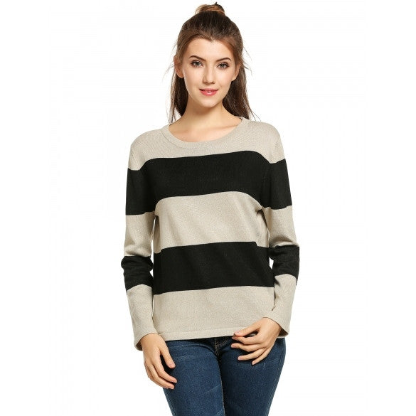 Casual Round Neck Long Sleeve Striped Pullover Sweater