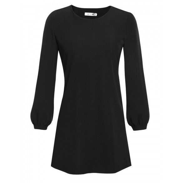Women Casual Long Sleeve Solid Loose Cocktail Party A-Line Dress