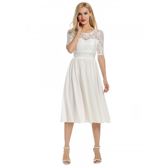 Women Floral Lace Short Sleeve Evening Wedding Swing Pleated Dress