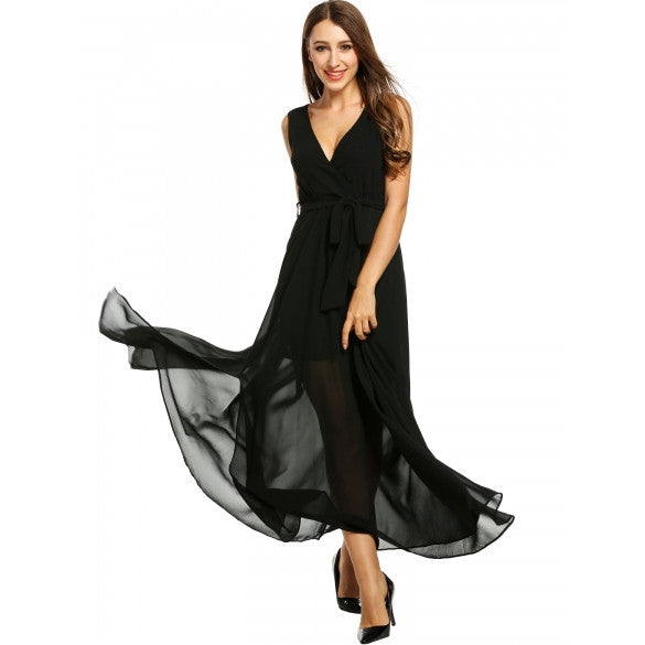 Women Casual Solid Sleeveless Split Hem V Neck Pullover Maxi Evening Dress