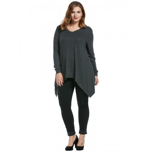 Women Casual Loose Fit V-Neck Long Sleeve Solid Asymmetrical T-Shirts Tops